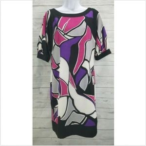 Kenneth Cole Reaction Shift Dress Sz 8 Multi Color